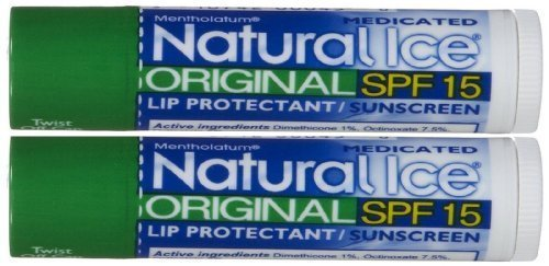 Natural Ice Medicated Lip Protectant Sunscreen SPF 15 Original Flavor (2 Double Packs