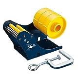 te-office Dispensador Etiquetas Portarrollos Etiquetas Adhesivas dispositivo de mesa manual 50 75mm rollenbreite Tornillo de banco Azul - 75mm