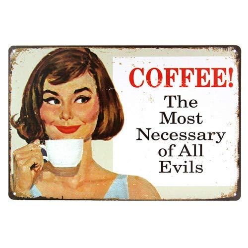 Tin Sign Kaffee die Notwendigsten Aller Übel Vintage Home Kaffee Dose Vintage Metall Wand...
