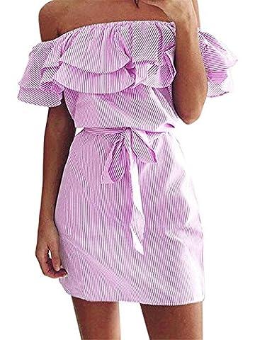 Romanstii Women Off Shoulder Dress Casual Ruffles Strapless Sexy Short Dress Mini Dress Pink L