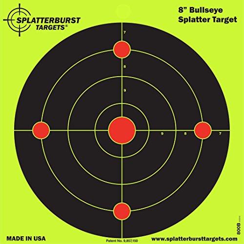 Paket von 50 - Splatterburst Ziele - 20,3 cm - Reaktive Bullseye Ziele - Schüsse platzen hell fluoreszierend gelb beim Aufprall - Gewehr - Pistole - AirSoft - BB Gun - Luftgewehr ...