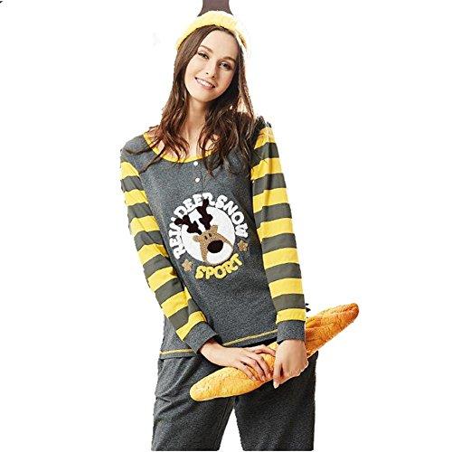 GJX Pigiama manica lunga pigiama Lady autunno puro cotone girocollo