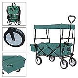 FROADP Faltbarer Bollerwagen mit UV-Schutz-Sonnendach - Handwagen bis 70 Kg 360°Drehbar für Alle Untergründe Geeignet, Grün