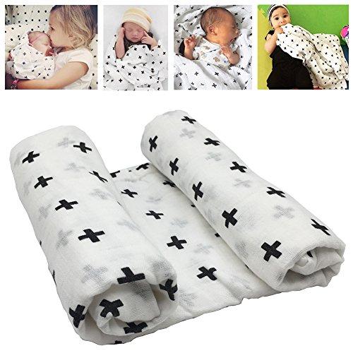 Mantas para bebé (muselina para bebé bebé largo algodón diseño de bebé mantas patrón de cruz cristiana