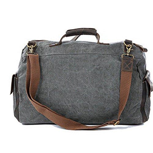 Paonies Damen Herren Canvas Weekender Tasche Reisetasche Sporttasche Handgepäck (L: 47 x 14 x 30 cm, Grün) Grau