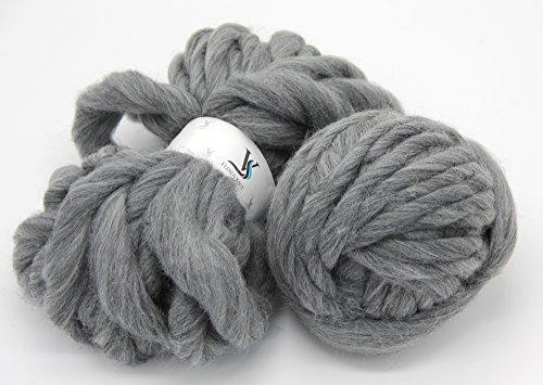 floraknit 500g Merino Wolle Super Chunky klobigen Roving Garn für Arm Knit grau (Merino Chunky Garn)