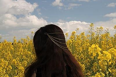 Chaînes de cheveux/bijou romantique/décoration de tête/coiffe chaînes bronzes/coiffure tribale femme/accessoire pour elle