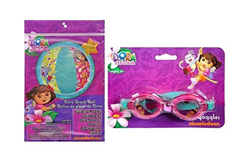 Dora the Explorer Inflatable 20 Beach Ball Pool Toy Plus Bonus Dora 1pk Splash Goggles by MBZ