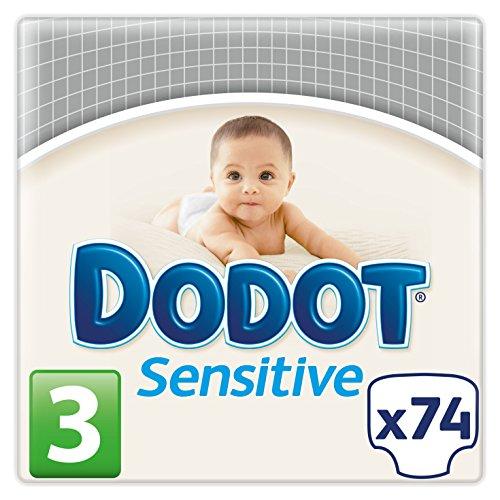 Dodot Pañales Sensitive, Talla 3, para Bebes de 5-10 kg – 74 Pañales