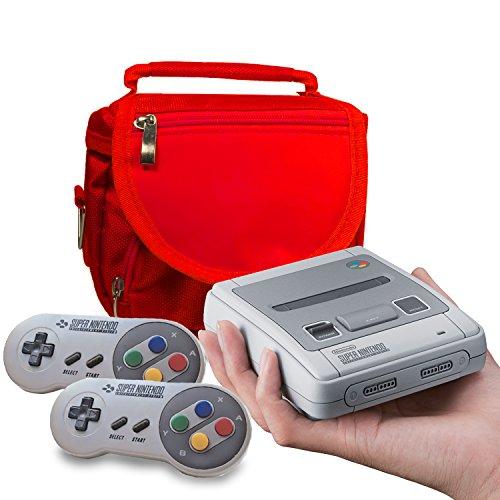 SNES MINI Tasche, Orzly Reise und Aufbewahrungstasche für die Nintendo Classic Mini Super Nintendo (Neue 2017 Modell –Mini version der SNES Konsole) – Raum für Konsole, Kabel und 2 Controller. Inklusive Schultergurt & Tragegriff - ROT