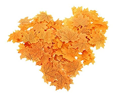 50pcs Artificial Autumn Fall Maple Leaves Weddings Parties Table Scatters Confetti Home Decor (Orange)