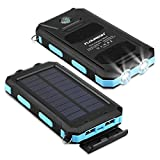 FLOUREON Solar Ladegerät Powerbank 10000mAh Externe Akku Batterie Wasserdicht und