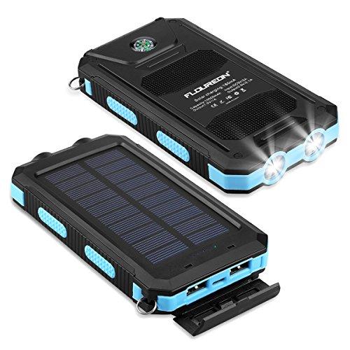 FLOUREON 10000mah Powerbank Solar Charger Externe Akku Batterie Wasserdicht mit USB und 2-LED-Lampe für Handy Tablet Smartphon Blau