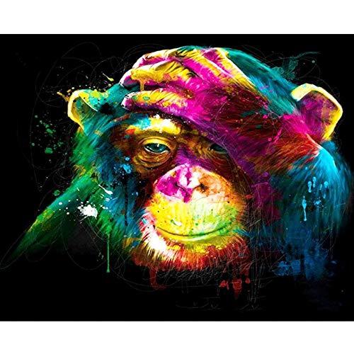 Yyboo Affe DIY Malen nach Zahlen Tiere Malerei Kalligraphie Acrylfarbe nach Zahlen für Home Decor Kunstwerke 40x50cm