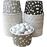 Outside The Box Papers Silver, Black And White Polka Dot Candy/Nut Mini Baking Cups 48 Pack Black, Silver, White