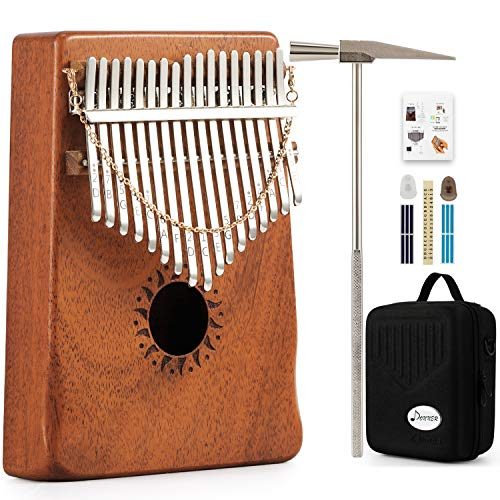 Donner Daumenklavier Kalimba Instrument 17 Schlüssel Solid Finger Klavier Mahagoni DKL-17 mit Hard Case