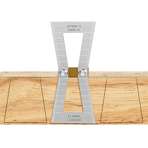 Schwalbenschwanz Marker, Housolution Hand geschnitten Holz Gelenke Lehre Schwalbenschwanz Guide Tool, Schwalbenschwanz Vorlage Größe 1: 5-1: 6 und 1: 7-1: 8 für Holzbearbeitung - Silber