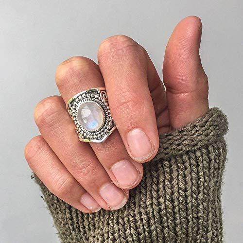 GHY Ring Mode Retro Mondschein Stein Thai Silber Ring Trendy Übertrieben Punk Wind Ring Schmuck,Bild,Nein.9
