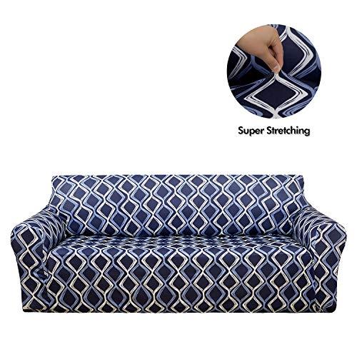 Deconovo copridivano 3 posti fodera per divano in elastico antiscivolo con motivo moderne protegge il mobile per soggiorno blu navy