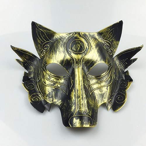 ALEMIN Cosplay Wolf Kostüm Maske Vollgesichtsmaske, Halloween Maske Tier Wolf Kopf Maske Maskerade Maske für Wolfman Aktivität Spiel Home Party (Vintage Gold) (The Wolfman Kostüm)