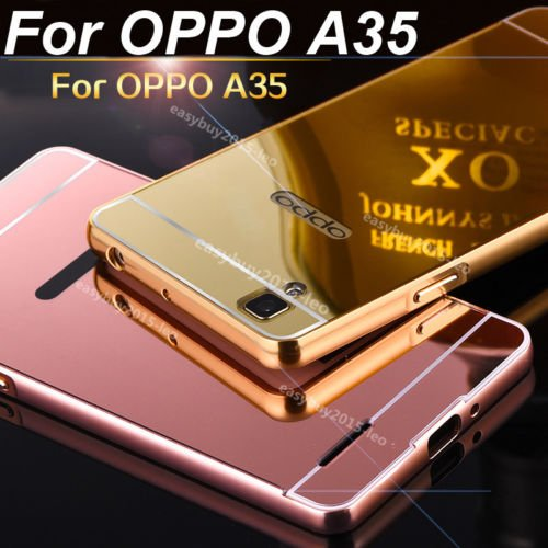 nKarta (TM) Branded Luxury Metal Bumper Acrylic PC Mirror Back Mobile Cover Case For Oppo F1 A35 - Rose Gold