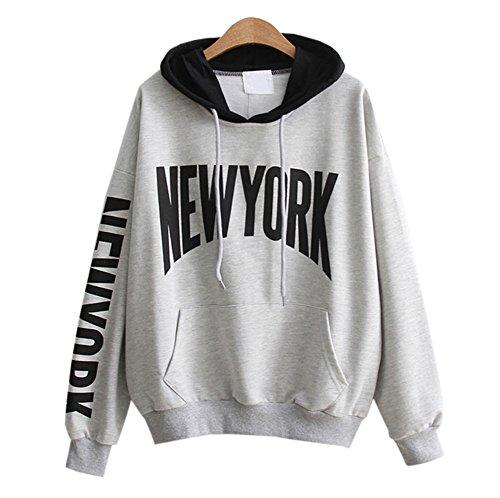 DaBag Automne Femmes Ecriture Pull Capuche Fille Sweatshirt Tops Blouse Hooded Sweat-shirt Manches Longue Chemisier Gris