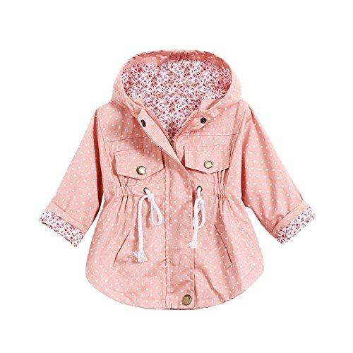 ESHOO Mädchen Outerwear Hooded Polka Dot Jacken Mäntel Hoodie Windbreaker 2-7 Jahre