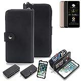 K-S-Trade 2in1 Handyhülle für Allview A9 Plus Schutzhülle & Portemonnee Schutzhülle Tasche Handytasche Case Etui Geldbörse Wallet Bookstyle Hülle schwarz (1x)