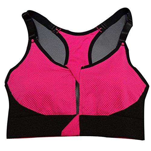 Hsnnyqt Reggiseno Di Sport Anti-vibrazioni Reggiseno Sportivo Cerniera Femminile Yoga Gilet In Stile Esecuzione Vestiti Di Fitness RoseRed