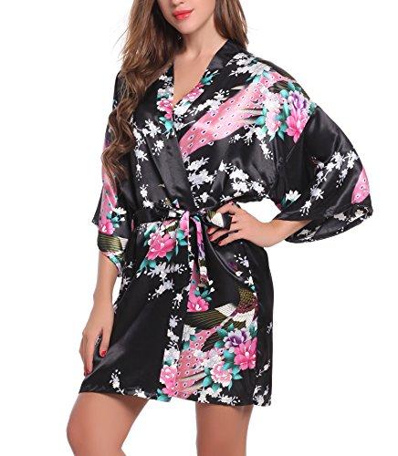 ADORNEVE Femme Robe de Nuit Kimono Satinée Nuisette Courtes Paon Noir