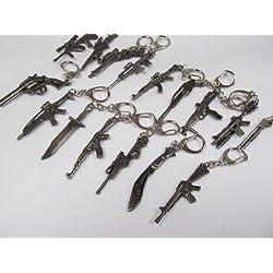 Coleccion de llaveros -replica para hombre de metal mini armas: ak47, francotirador, ametralladora, cuchillo de caza (1 elegido al azar) - Posteado desde Londres por Fat-catz