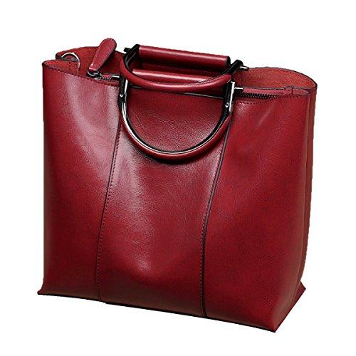 Frauen Top-Griff Schultertasche Glatt Handtasche Tote Handtasche,Red-M (Glatte Griff Handtasche)