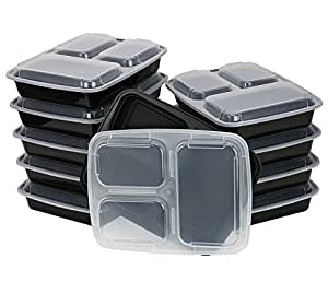 ChefLand 3 Compartment Microwaveable Food Container/Bento Box With Lid, Black, 10 Pack