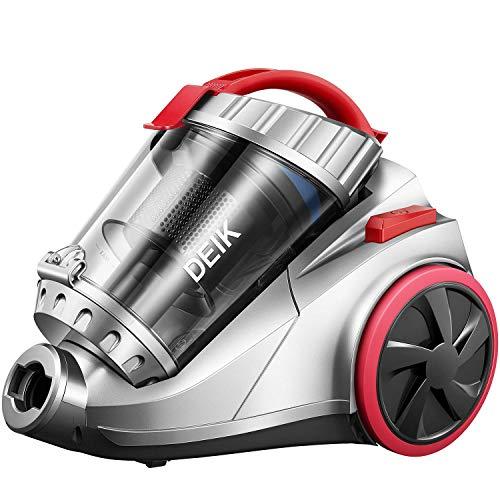 Deik Aspirapolvere senza Sacco, Aspirapolvere Ciclonico senza Sacchetto 800W 18Kpa, 4 Stage Sistema di Filtrazione, 1,3L Volume, 7,5m Raggio d' Zzione, Grigio e Rosso