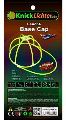 Knicklichter Kappe Base-Cap GELB. Komplett-Set. Fabrikfrische Qualitätsware! Unter eigenem Label produziert. von KnickLichter.de bei Lampenhans.de