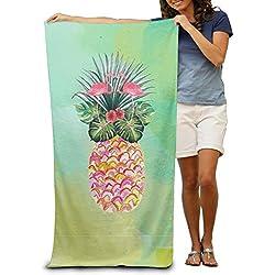 Toallas de baño de piña de verano, flamencos, toallas de playa, toallas de piscina, para adultos, suave absorbente, 78,74 x 121,92 cm