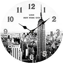 Reloj de Pared Vintage, CT-Tribe 34cm Retro reloj de pared silencioso Números arábigos New York diseño Reloj Retro Pared Decoración Hogareña