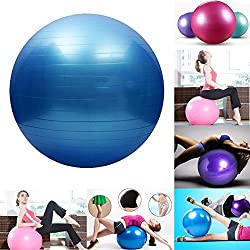 9e Mart Inflatable 65 cm Gym Ball With Foot Pump For Total Body Fitness, Abdominal Toner - Diameter 65Cm