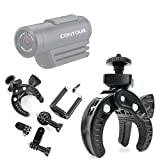 DURAGADGET Soporte universal tipo pinza para manillar de bicicleta para Videocámara Contour Roam 3 | Ion Air Pro 3 | TomTom Bandit | Vivitar DVR908MFD