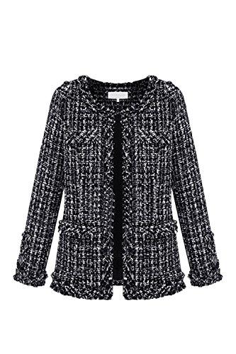 Vosujotis Le Donne Eleganti Outcoat Tweed Lana A Maniche Lunghe Slim Aperta Davanti Cappotti Black XS