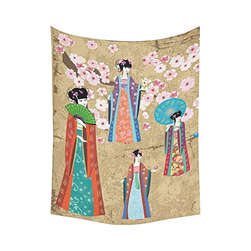 Asiatische Art Wand Home Decor, Mädchen in Retro Kostüm Wandteppich für Art Sets 152,4x 203,2cm, Baumwoll-Leinen, multi 1, 60 X 80 inch