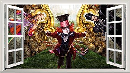 Chicbanners Alice in Wonderland 2Alice Through The Looking Glas voller Farbe Magic Fenster Bild Wandtattoo Wandbild Poster Größe 1000mm breit x 600mm tief (groß) V003 (Farbe Glass Looking)