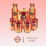 Mbs Set of 1 Copper Jug (1500ml), 2 Copper Bottles (1000ml Each) & 6 Copper Glasses (300ml Each)