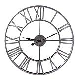 Mecotech Vintage Wanduhr, XL Ø 50 cm Durchmesser Vintage Römische Ziffern Wanduhr Lautlos Uhr Große Wanduhr ohne Tickgeräusche für Wohnzimmer, Schlafzimmer, 20 Zoll (Silber)