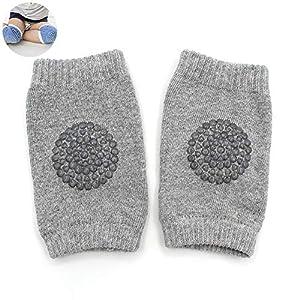 Algodón bebé gatear rodilleras antideslizante rodilleras rodilleras para niño (gris claro) 5