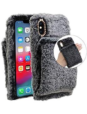 Plüsch Hülle iPhone 6S/iPhone 6,LCHDA iPhone 6 6S Flauschige Hasen Fell Hülle Handyhülle Für Mädchen Süße Winter...