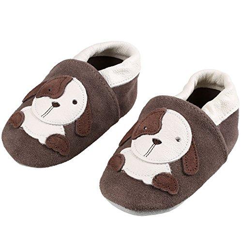 Sibba Lauflernschuhe Babyschuhe Krabbelschuhe, mit weichem Leder für Mädchen und Jungen (12-18 Monate, Brauner Hund)
