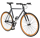 Critical Cycles Harper Single-Speed Fixed-Gear Urban Commuter Bike, Graphit/Orange, 53 cm/Medium