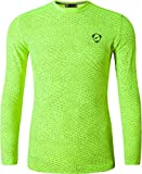 jeansian Herren Casual Long Sleeves Quick Dry T-Shirts Wicking Running Sport Tee Shirt Top LA186_GreenYellow L [Apparel]