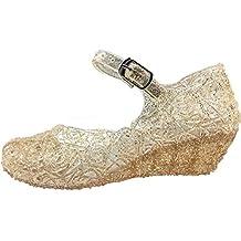 Tyidalin Niña Bailarina Zapatos de Tacón Disfraz de Princesa Zapatilla de Ballet para 3 a 12 Años EU28-33(Color: Púrpura,gold,plata)